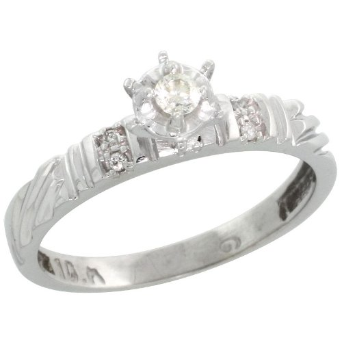 Sterling Silver Diamond Engagement Ring, w/ 0.06 Carat Brilliant Cut Diamonds, 1/8in. (3.5mm) wide, Size 8.5