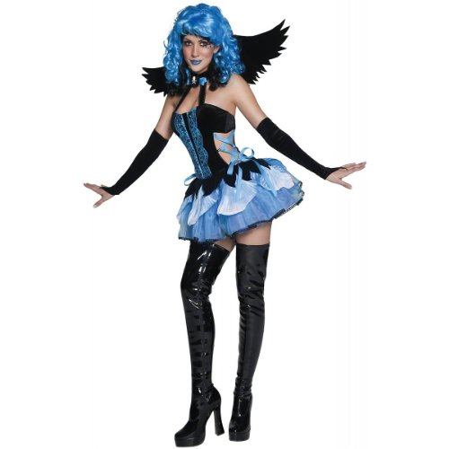 Smiffy'S Women'S Tainted Garden Stricken Angel Costume With Dress Wings And Glovettes, Black/Blue, Medium