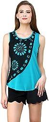 ShilpKala Women's Sleeveless Top (skt3011m, Turquoise blue, Medium)