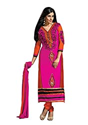 Idha Pink Semi-Stitched solid Salwar Suit For Women