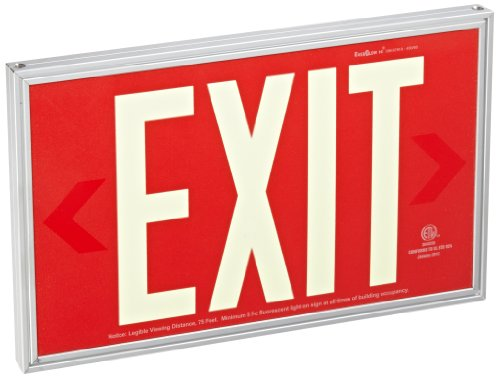 """Everglow 90.8924R-1-F Aluminum Single Side Code Approved Photoluminescent Sign With Standard Architectural Frame, """"Exit"""", 14-29/32"""" Width X 9-1/4"""" Height X 3/4"""" Thick, Red"""