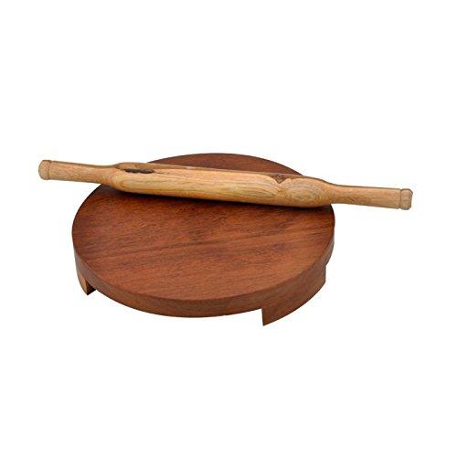 Onlineshoppee Wooden Polpat Roti Roller Combo Large Sagwan