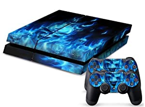 PS4 Designer Skin for Sony Playstation 4 Console System Plus Two(2) Decals For: PS4 Dualshock Controller - Skull of Blue Fire