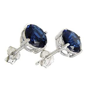 Sterling Silver.925 Sapphire Color Cubic Zirconia Stud Earrings 2.00 Carats Total Weight Comes in a Gift Box & Special Pouch