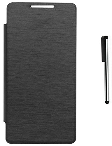 Tidel Black Durable Premium Flip Cover Case For Xolo A550s IPS With Stylus Touch Pen  available at amazon for Rs.189