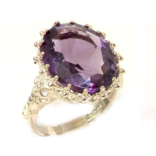 Luxury Solid Sterling Silver Large 16x12mm Oval 8.5ct Natural Amethyst Ring - Size 12 - Finger Sizes 5 to 12 Available - Suitable as an Anniversary ring, Engagement ring, Eternity ring, or Promise ring