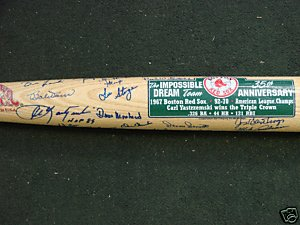 1967 RED SOX TEAM SIGNED BAT YAZ,PETROCELLI,PSA by Bud