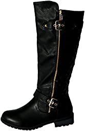 FOREVER MANGO-21 Women\'s Winkle Back Shaft Side Zip Knee High Flat Riding Boots,10 B(M) US,Black