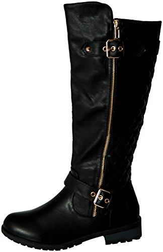 f8cca469fd2 Forever Mango-21 Women's Winkle Back Shaft Side Zip Knee High Flat ...