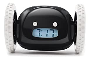 Clocky Alarm Clock on Wheels in Black