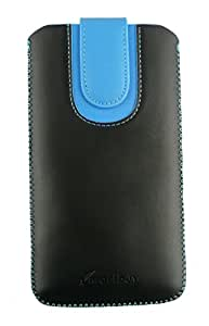 Emartbuy® Black / Blue Plain Premium PU Leather Slide in Pouch Case Cover Sleeve Holder ( Size 3XL ) With Pull Tab Mechanism Suitable For Celkon A22