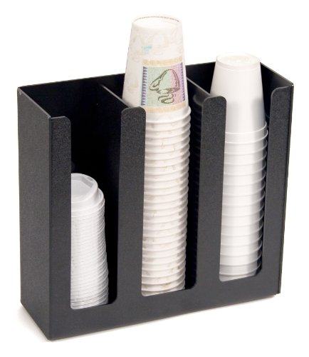 Vertiflex 3-Column Cup and Lid Holder, 12.75 x 4.5 x 11.75 Inches, Black (VFPC-1000)