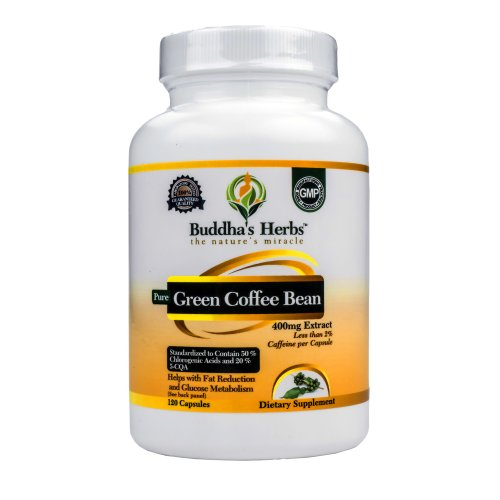 Pure Green Coffee Extract 400 - 50% Chlorogenic Acid - 120 Green Coffee Capsules - Green Coffee Weight Loss - Green Coffee Pills - Green Coffee Bean Extract Diet