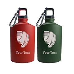 Personalized Engraved Baseball Glove Homerun 17 Oz Aluminum Canteen Water Bottle for... by Engraved Cases