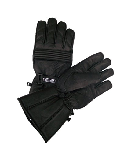 Full Leather Motorcycle Gloves by Blok-IT. Gloves Are Waterproof, Thermal, 3M Thinsulate Material. For Bikers, Motorcycles & Motorbikes. (Small)