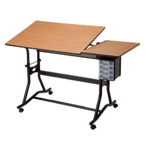 Split Top Adjustable Drafting Table on Casters - CraftMaster III