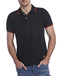 Jack & Jones Mens Cotton Polo (5713024075965_ Black_Small)