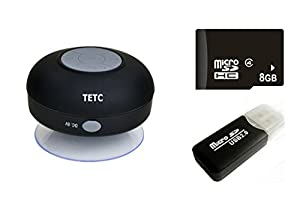 Wireless Mini Waterproof Bluetooth Suction Shower Car Handsfree Mic Speaker (Black) by TETC