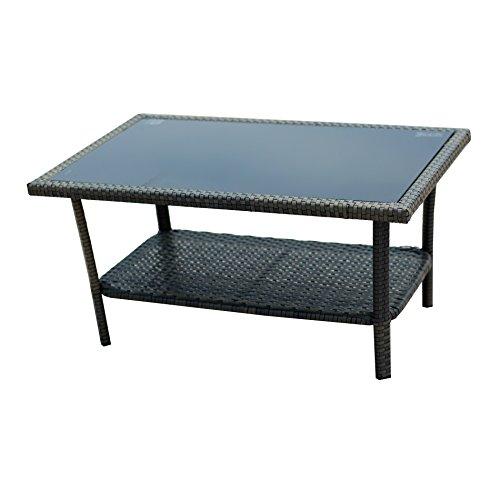Ids Home Complete Compact Outdoor Indoor 4 Piece Brown Rattan Wicker Coffee Table Garden Patio
