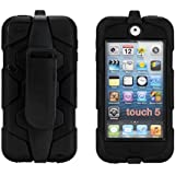 Maly'a shop Heavy Duty Slight Water-Proof shock-proof dust-proof Sport Outdoor build-in screen Protection Case Cover with Belt Clip for Apple iPod Touch 5 5th (Black)