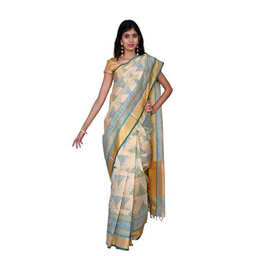 Urvashi Green & Red Cotton Silk Saree (Urvasi 039)
