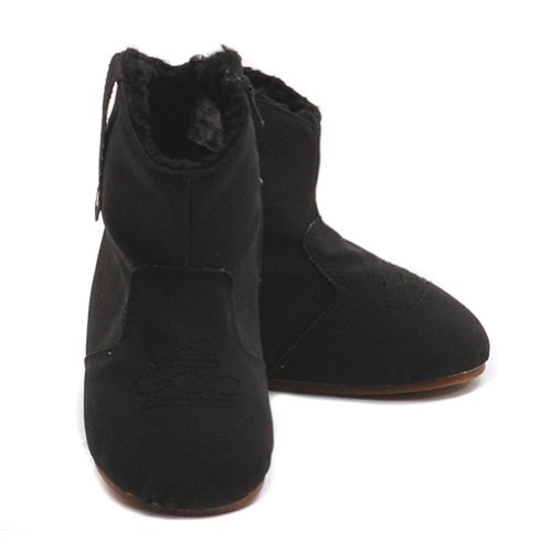 Modit Black Micro Suede Zipper Faux Fur Cuff Boots Baby Girls 1-6
