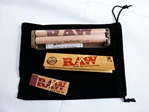 """RAW King Size Deal - """" KingSize Slim Cigarette Rolling Papers, 110mm Rolling Machine & Filter Tips"""" **INCLUDES** Black Velvet Pouch"""