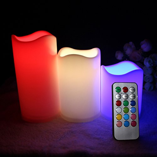 Multiple Color Flameless Candles Remote - electric candles, Battery Operated Set of 3 Remote Control 12 Color Settings glow candles for Home Décor Holiday Gift and Christmas Gift- by LIANDER HOME