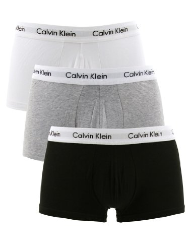 Calvin Klein White/Black/Grey 3 Pack Low Rise Trunks - Size: M