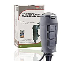 Tork 806B Outdoor Christmas Light Stake Timer - 6 Grounded Outlets