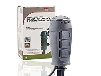 tork 806b outdoor christmas light stake timer 6 grounded outlets electrical timers. Black Bedroom Furniture Sets. Home Design Ideas