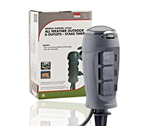 Tork 806B Outdoor Christmas Light Stake Timer 6 Grounded Outlets Electric