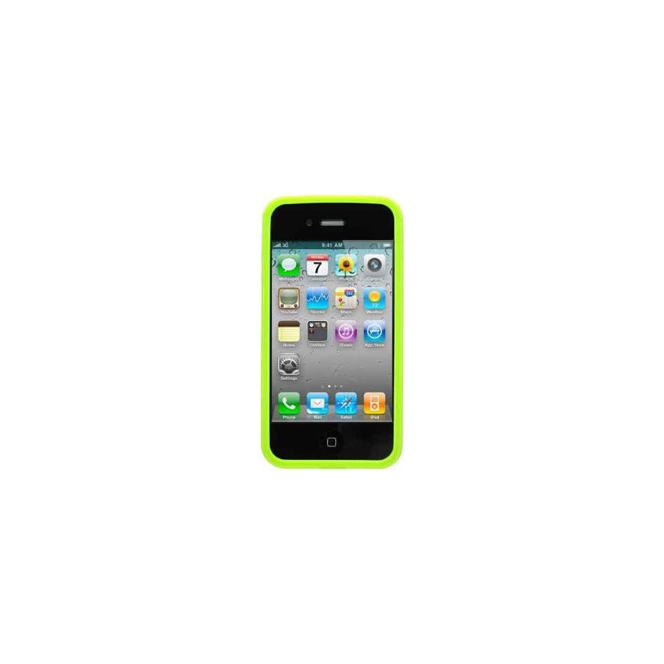 Green Bumper Soft Tpu Skin Gel Cover Case for Apple Iphone 4 4g 4th Gen + Front and Back Lcd Screen Guard + Microfiber Pouch Bag