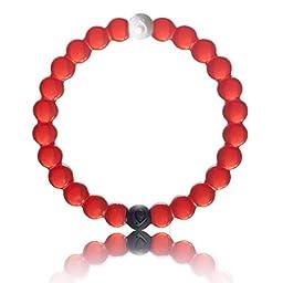 Silicone Bead Bracelets Bangles Friendship Faith Energy Bracelets (Red, S)