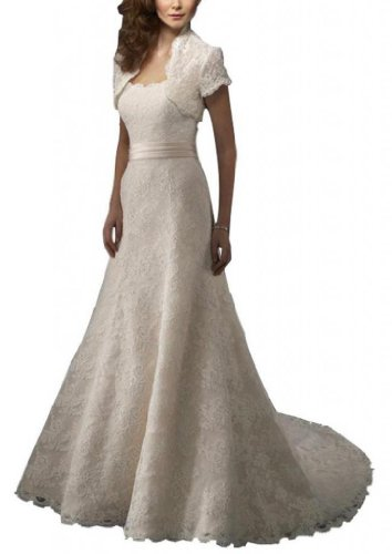 Dearta Women'S A-Line Strapless Court Train Wedding Dress Us 10 White