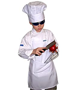 XL CHEFSKIN CHEF SET Kids Children Chef Jacket + Apron +Hat , EXCELLENT COSTUME FOR HALLOWEEN, CHRISTMAS, SCHOOL fits kids 8-11 years old by CHEFSKIN