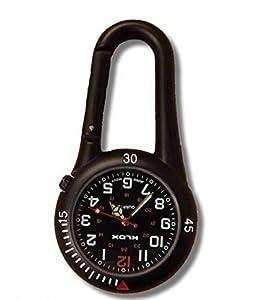 Reloj con Pinza Mosquetón Negro Ideal para Doctores Enfermeras Paramédicos o Jefes marca Bullahshah Traders Ltd