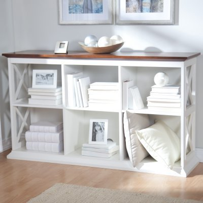 The Hampton Rectangle Console Table Stackable Bookcase - White/Oak - YS090407008-W