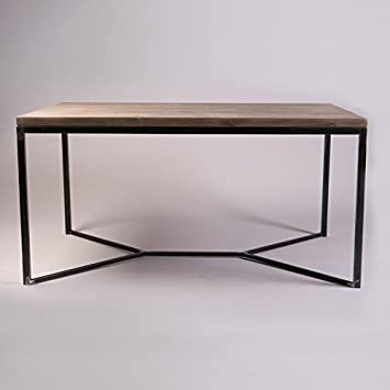Table salle à manger industrielle massif, Fernanda (Brown)-Black (Mild steel), 6 seater W150xD75xH75cm