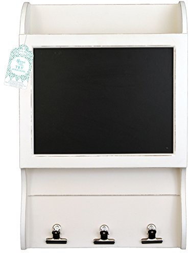 Wooden Wall Chalkboard with 3 Hanging Clips and File Bin (White)