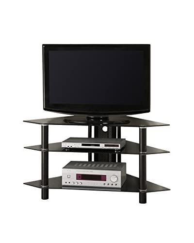 Walker Edison Glass Corner TV Stand, Black
