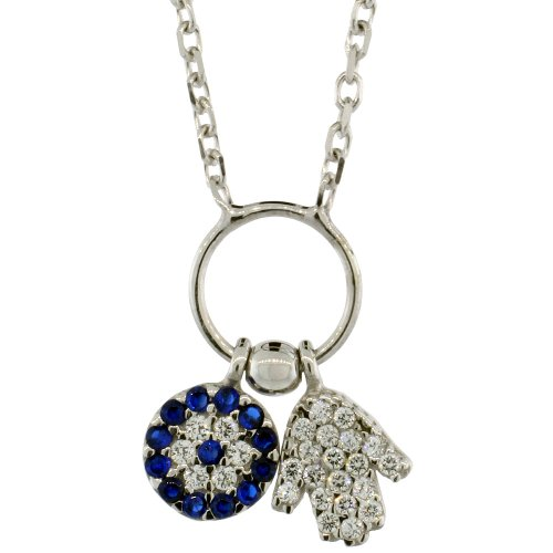 Sterling Silver 16 in. Cable Link Chain Necklace w/ Jeweled Evil Eye & Hamsa Charm Pendant
