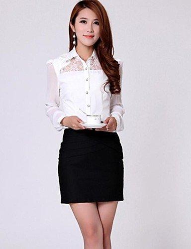 ZXR-Femme-Noirbleublanc-pour-femme-col-chemise--manches-longues-en-dentelle