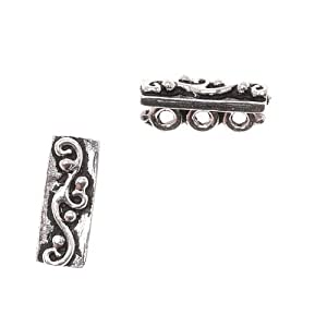 Sterling Silver Triple Strand Spacer Bar 6mm - Fits 3mm Beads (1)