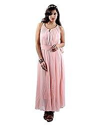 Envy Women's Georgette Round Neck Dress (Pink, Free Size)