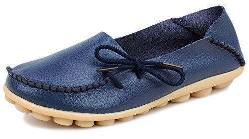 Kunsto Women's Leather Casual Loafer Shoes US Size 7 Blue