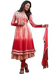 Orange Fab Red Animal Printed Georgette Layered Anarkali Dress Material