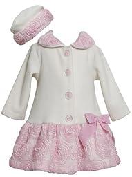 Bonnie Baby Baby Girls\' Bonaz Trim Fleece Coat and Hat Set, Ivory, 24 Months
