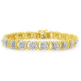 1.00ct TDW Diamond and Gold Plated Sterling Silver Bracelet- Size 7.5