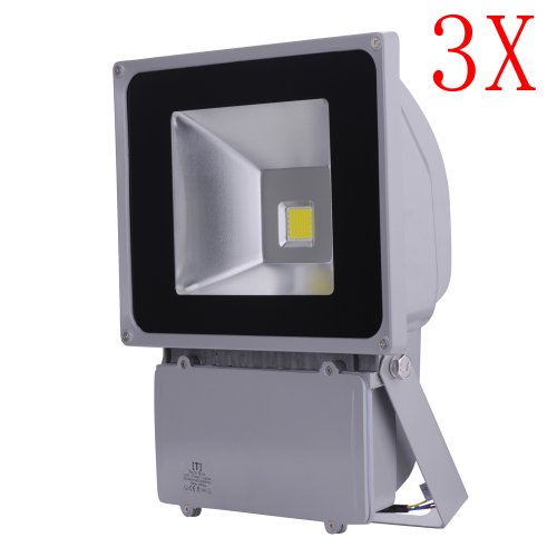 3 Pcs 100W Watt Led Waterpoof Outdoor Security Floodlight 85-265 Volt Ac Cool White